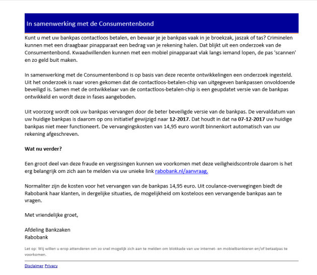 Valse e-mail Rabobank