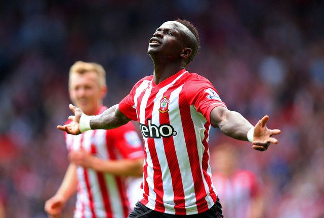 SOUTHAMPTON, ENGLAND - MAY 16:  Sadio Mane of Southampton celebrates scoring the opening goal during the Barclays Premier League match between Southampton and Aston Villa at St Mary's Stadium on May 16, 2015 in Southampton, England.  (Photo by Bryn Lennon/Getty Images) ORG XMIT: 498499971 ORIG FILE ID: 473580130