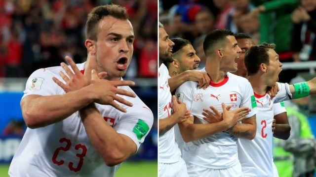 Slikovni rezultat za Švicarskim nogometašima Granitu Xhaki i Xherdanu Shaqiriju