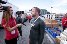 Swim event TF Christiansborg Rundt 2018. Swim event TF Christiansborg Rundt 2018. Det Radikale Venstres politiske leder, Morten Østergaard, interviewes efter en flot svømmetur.
