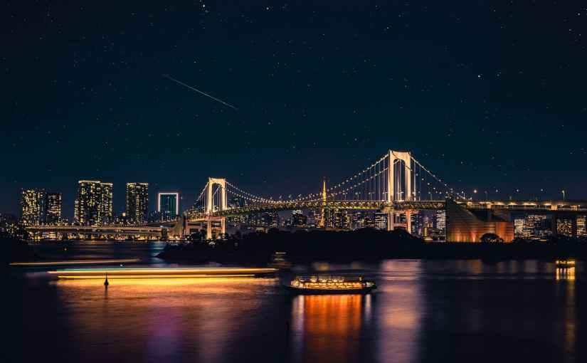 body of water across bridge during nighttime