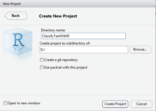 svm tutorial : name the project