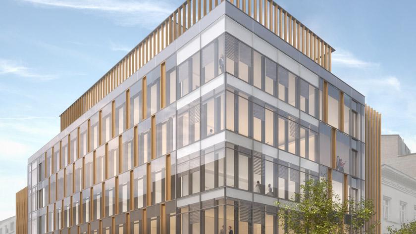 Formation de l'équipe de construction en vue de la construction du centre de formation pour le Parlement européen , rue Montoyer , Bruxelles