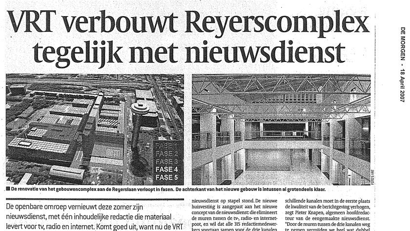 VRT verbouwt Reyerscomplex tegelijk met nieuwsdienst **