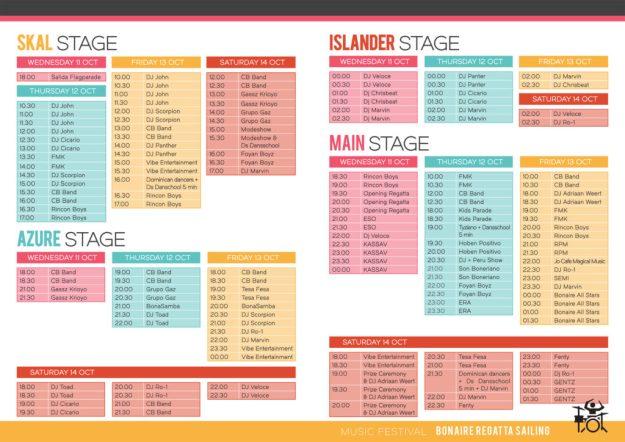 Music Schedule for Bonaire Regatta