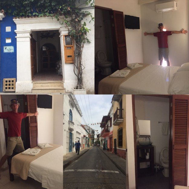 Entrance to hotel, two pics of small room, street of our hotel and bathroom in our room.