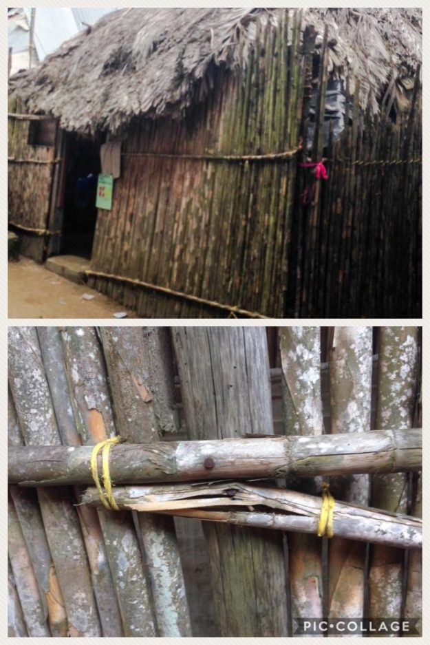 Kuna home and twine holding bamboo shoots together