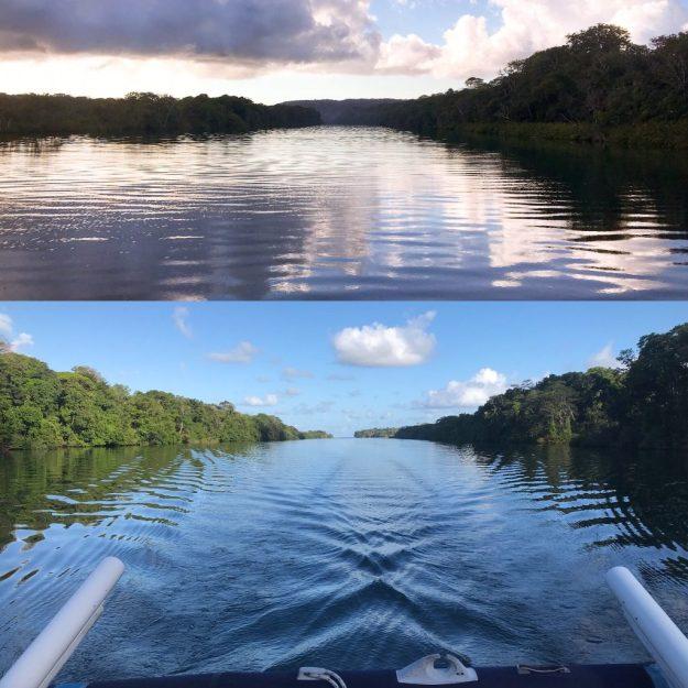 Sugar Shack cruising up the Rio Chagres River