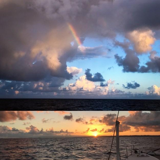 Sunrise and Rainbow under passage.