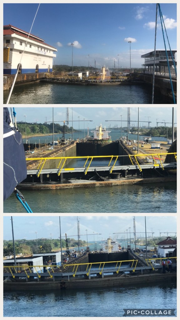 View of the first three locks after being raised to Lake Gatun level.