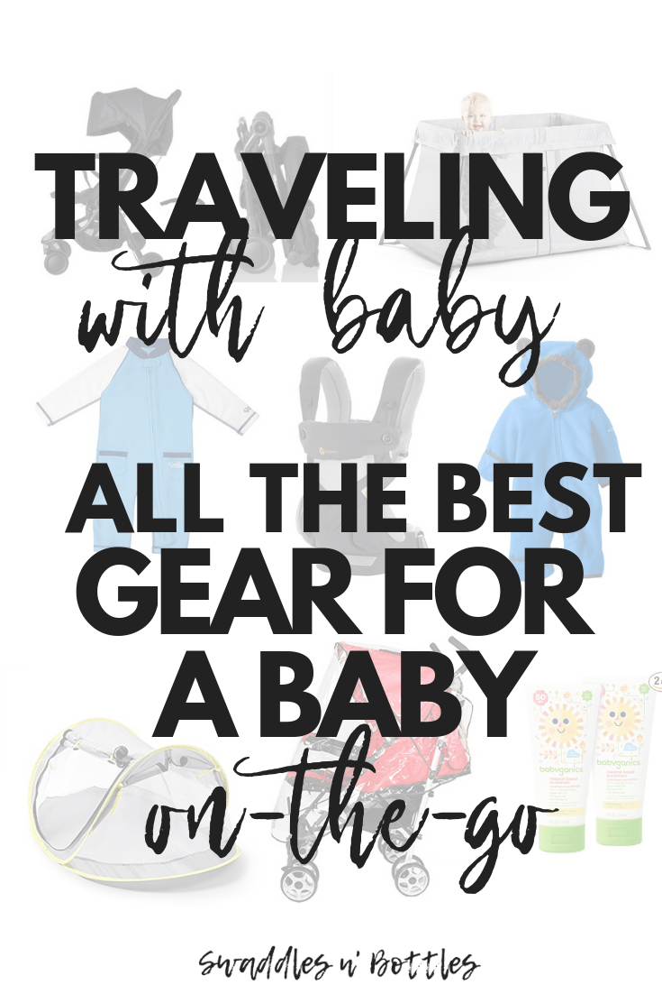From Beach vacation to snow, this is a huge list of all the best baby gear to help make traveling with a baby or toddler easier. So much of this equipment is collapsible and travels well. Tips for flying with baby and toddler for the first time included.