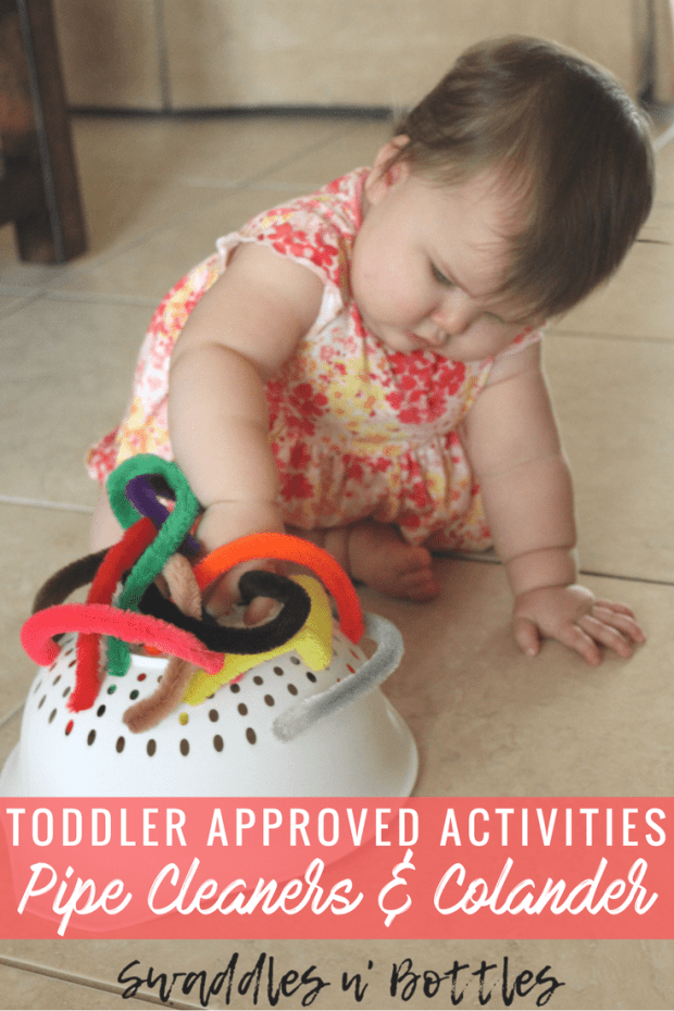 Toddler Approved Activities- Pipe cleaners and Colander