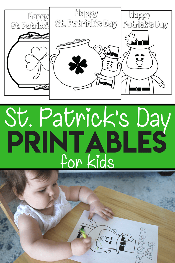 Free St. Patricks Day Coloring Pages for Kids and Toddlers. Free Printables for Toddler Activities!