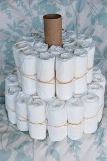 How to make a diaper cake for a baby shower on a budget