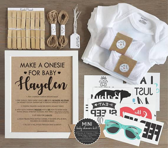 Iron On Bib and Onesie Station for a Boy Baby Shower
