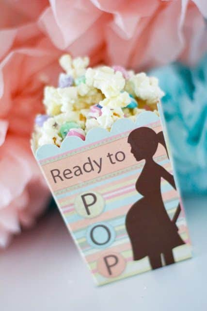 Ready to pop popcorn as a baby shower favor!