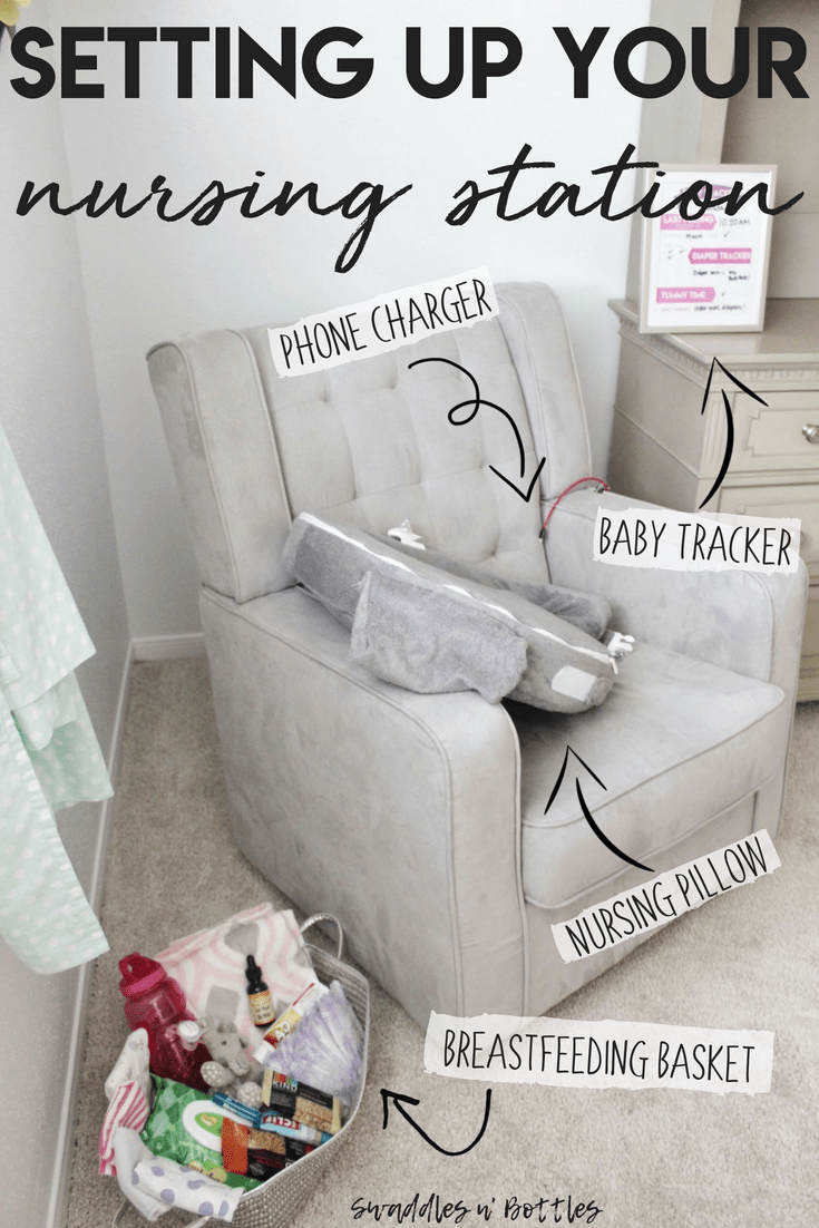Setting up your nursing stations, everything the breastfeeding mama needs within arms reach to make feeding your baby stress free.