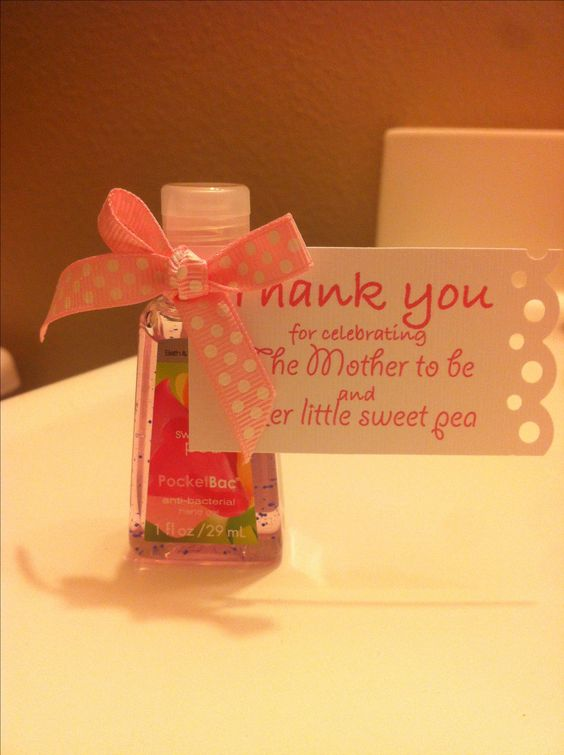 Thank you gift for your baby shower guests- a mini bottle of sweet pea scented hand sanitizer
