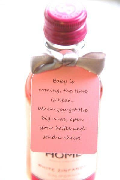 Baby shower thank you gifts: a mini bottle of wine for a cheer in honor of the new baby!