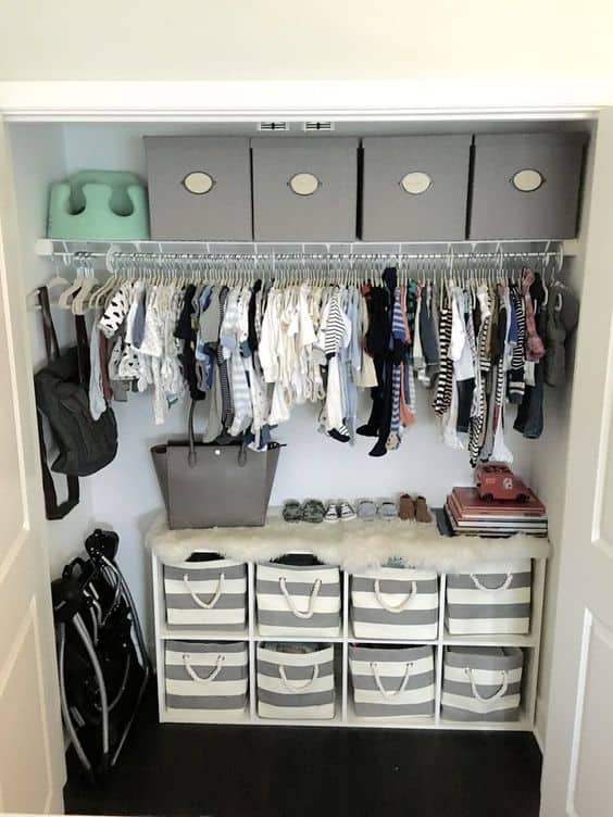 Baskets are key when it comes to an oganized closet for baby