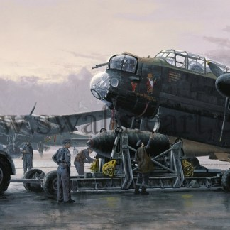 Avro Lancaster Preparing for Tirpitz Aviation card