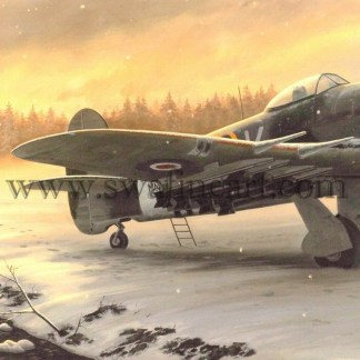 Hawker Typhoon Winter on the front Line Christmas Card