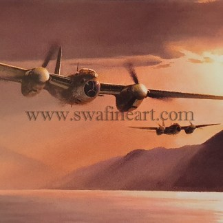 de-Havilland Mosquito Fast through the Fjord Aviation cards