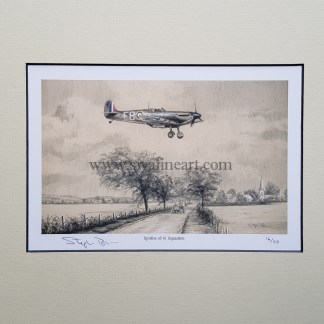 Spitfire of 41 Squadron Pencil Drawing (Stephen Brown Aviation Artist)