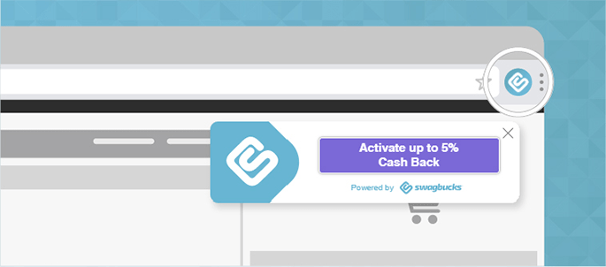 SwagButton Activate Cash Back example