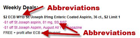 Couponing Abbreviations