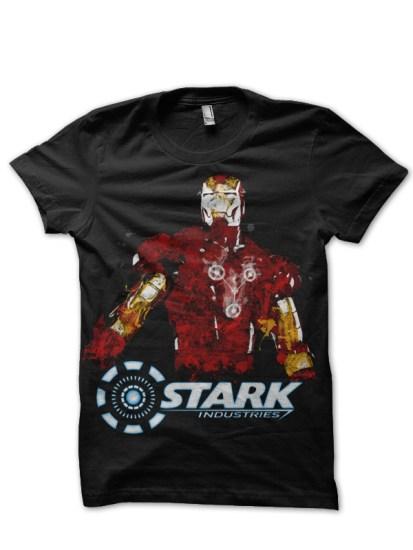 iron stark black tee