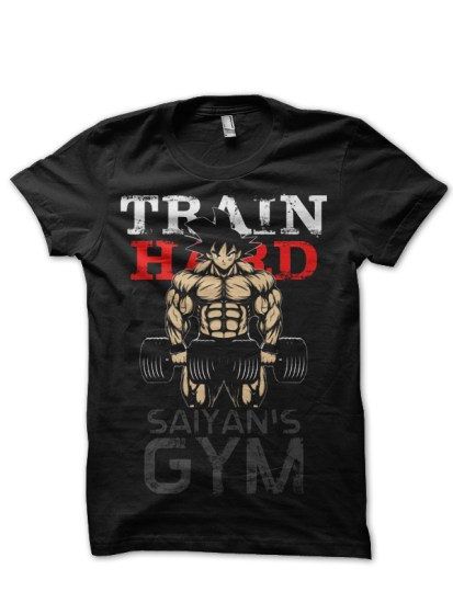 train hard goku black tee