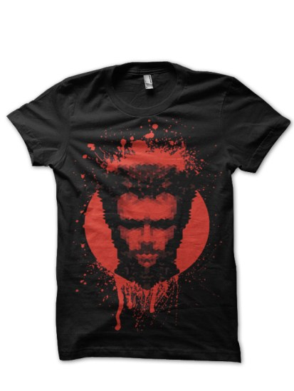wolverine face black tee