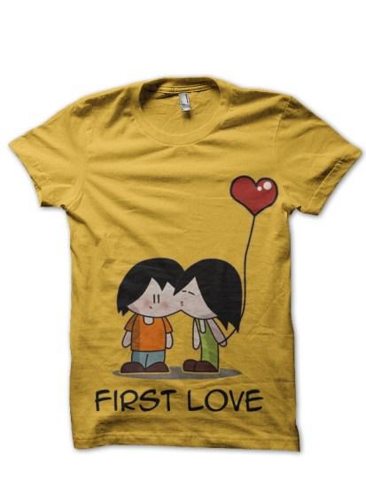 first love yellow tee