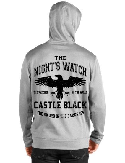 nights watch grey hooded sweatshirt back