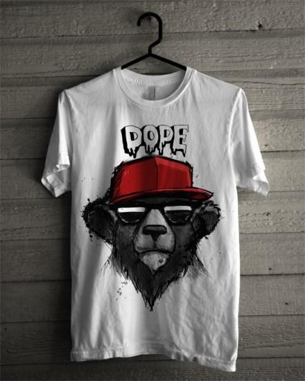 bear dope white tee