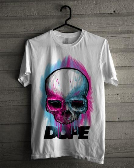 dope skull white tee