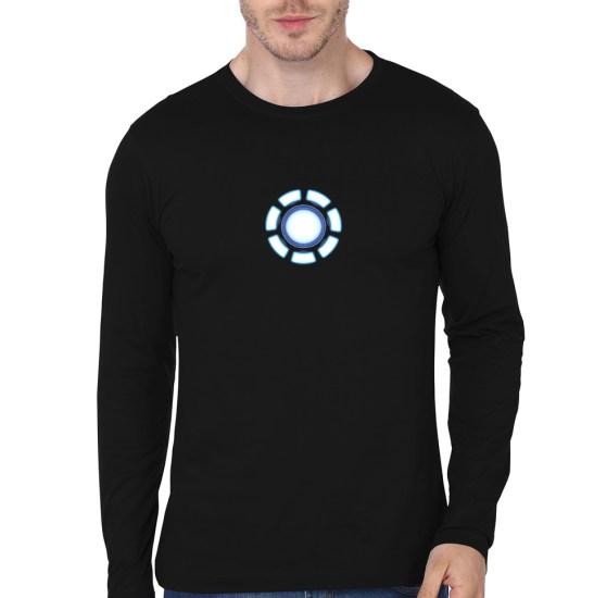 arc reactor black full sleeve tee
