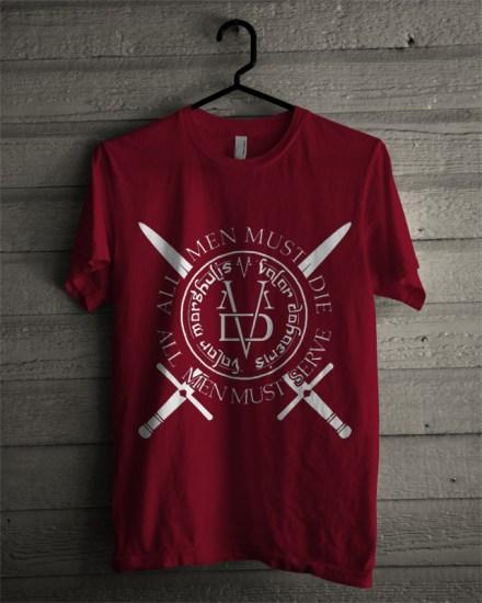 valar morghulis maroon t-shirt