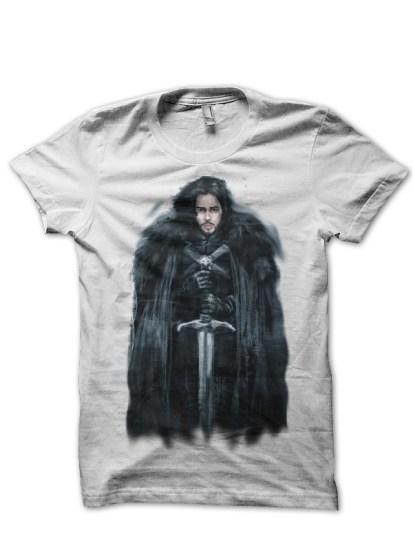 jon snow white tshirt