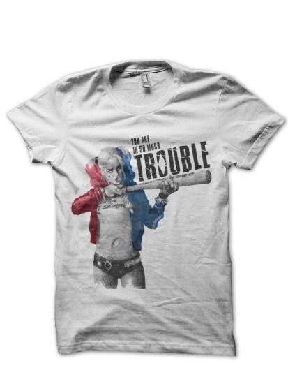 trouble white tee