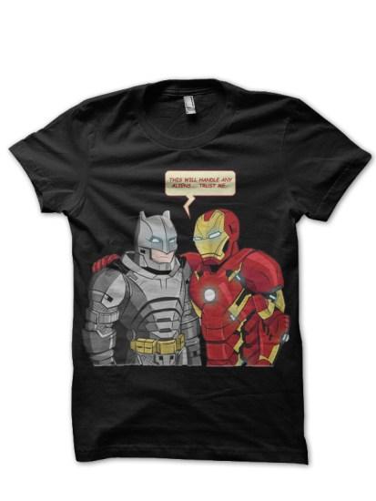 batman and iron man black tshirt