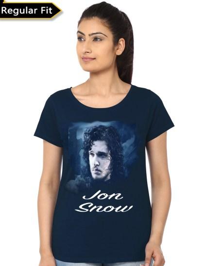 jon snow navy blue girls t-shirt