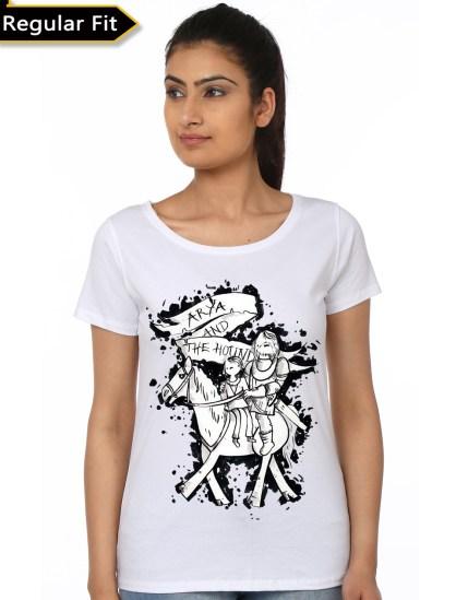 arya and hound white girls t-shirt
