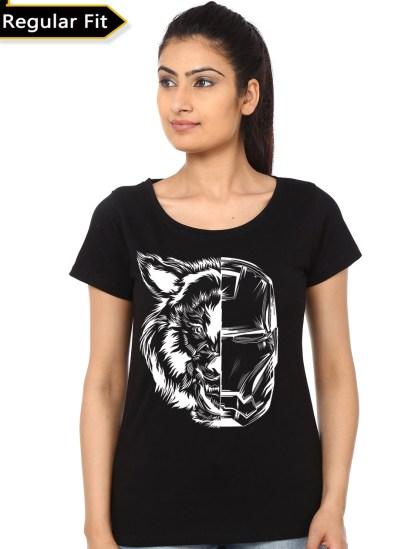 iron wolf black girls t-shirt
