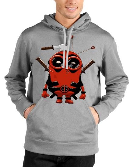 minion deadpool grey hoodie