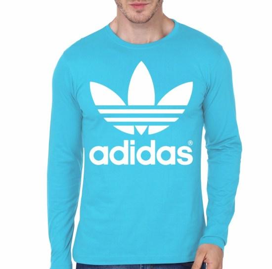 Adidas light blue full sleeve t shirt part 1 for Adidas custom t shirts