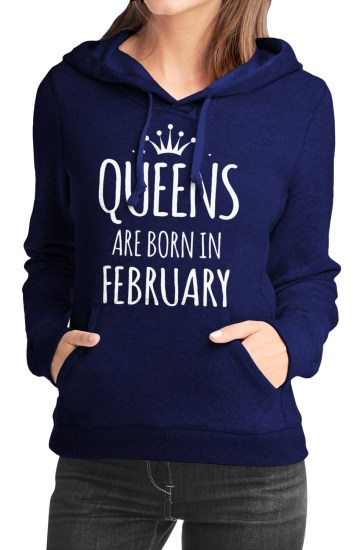 queens are born in february navy blue girls hoodie
