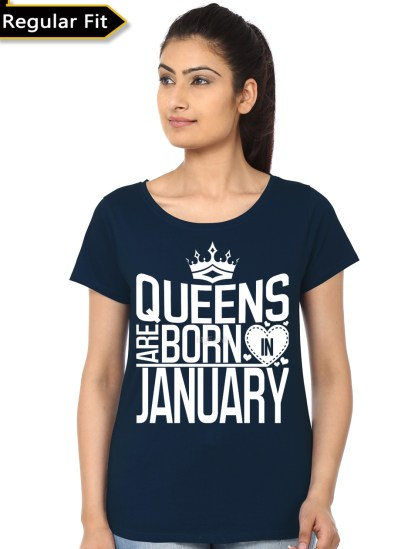 queens are born in january girls navy blue t-shirt