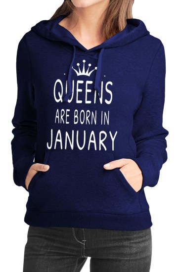 queens are born in january navy blue girls hoodie
